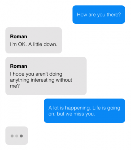 Example of a person chatting with the Roman chatbot.